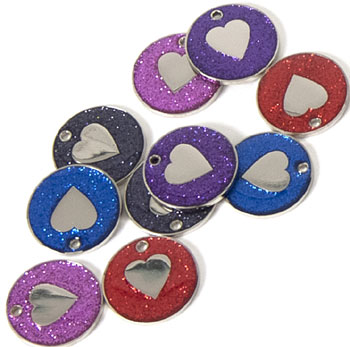 Glitter Heart Pet Tags 25 mm, pack of 10