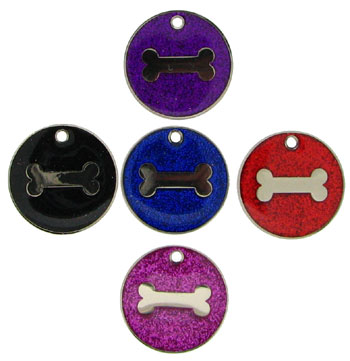 Glitter Bone Pet Tags 25 mm, pack of 10